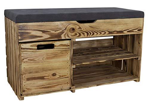 1x Rustikale, geflammte Sitzbank, gepolstert, mit Zwei Fächern & Einer Holzkiste, optimal für Schuhe/Mützen/Schals, neu, 90x40x55cm