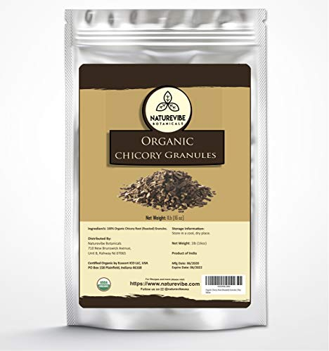Naturevibe Botanicals Organic Chicory Root Granules, 1lb | Roasted Chicory Granules | Caffeine free and Healthy coffee substitute