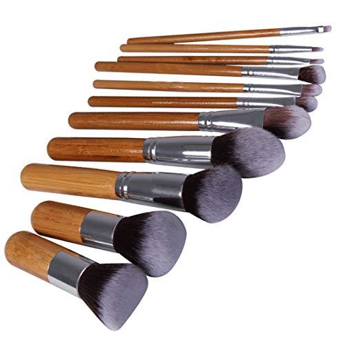 Pinceaux De Maquillage De 11 Pièces Outils De Beauté Ensemble De Pinceaux De Maquillage Poignée De Bambou