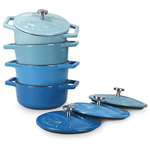 Navaris 4X Cocotte de Hierro Fundido - Mini cazuela de 10.5 CM esmaltada con Tapa - Set de cacerolas aptas para lavavajillas Horno - 290 ML - Azul