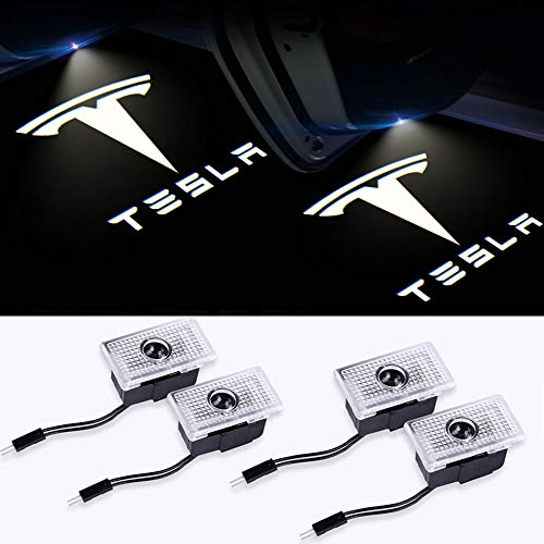 Car Door Lights for Tesla Model 3 Model S Model X Logo Lights 4 Pack Car Door Lighting Entry Ghost Shadow Projector Laser Emblem Welcome Lamp for Tesla Accessories