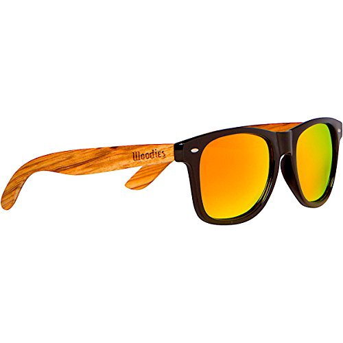 WOODIES Polarized Zebra Wood Sunglasses for Men and Women | Orange Polarized Lenses and Real Wooden Frame | 100% UVA/UVB Ray Protection