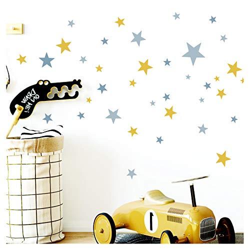 Little Deco sticker safariërende zebra olifant I muurschildering I varken muursticker baby jongen kinderfoto's babykamer meisjes wandsticker DL309 Zusatz - Sterne gelb blau