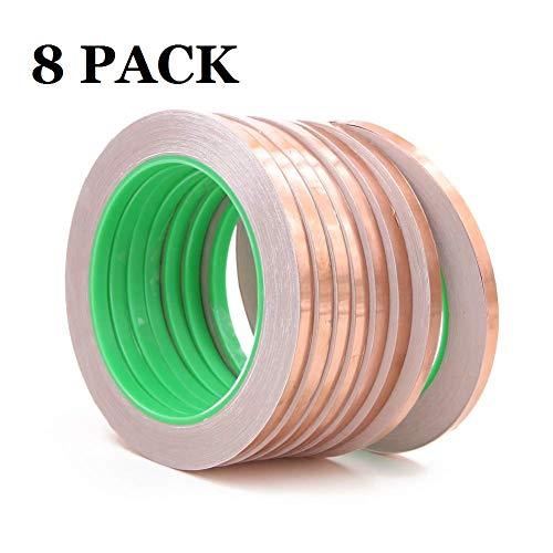 8 cintas de lámina de cobre, adhesivo conductor de doble cara para protección...