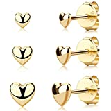 ZEINZE Heart Cartilage Stud Earrings Set for Women Girls 925 Sterling Silver Hypoallergenic Tiny Small Earring for Sensitive Ears Christmas Gifts (GOLD)