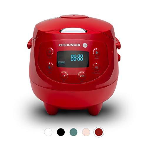 Digitaler Reishunger Mini Reiskocher und Dampfgarer in Rot - Mit Warmhaltefunktion, Timer & Premium Topf - Multikocher inkl. Reislöffel & Messbecher, 8 Programme, 7-Phasen-Technologie, Bis 3 Personen