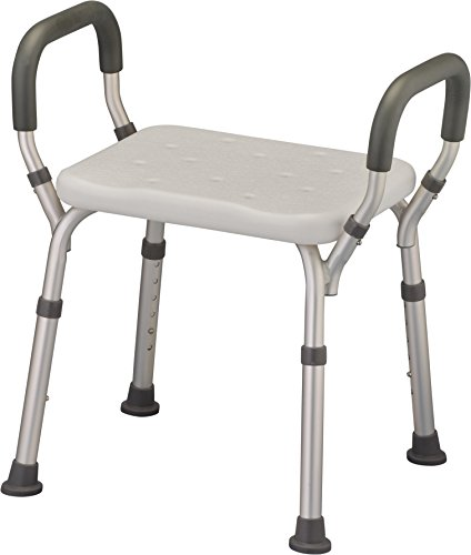 NOVA Medical Products Shower and Bath Chair with Arms, Quick & Easy Tools Free Assembly, Lightweight and Seat Height Adjustable, Great for Travel, White