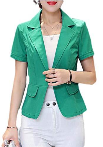 Gocgt Damen Kurzarm-Blazer gekerbtes Revers Slim Fit Arbeitsanzug Jacke Mantel Gr. US XL, grün