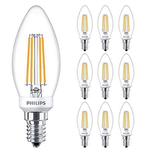 Philips 929001332102 - Bombilla LED de filamento clásico (5 W, intensidad regulable, rosca Edison pequeña E14 SES, 2700 K, luz blanca cálida, 470 lúmenes, 15000 horas, incluye ambientador para coche