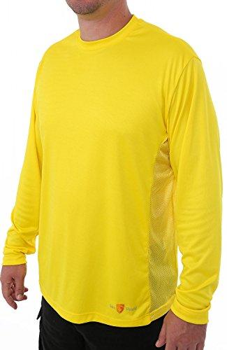 Sun Shield Men's Genesis Sun Protection Performance Fishing Shirt, Cool Long Sleeved Breathable T-Shirt, Yellow 2XL