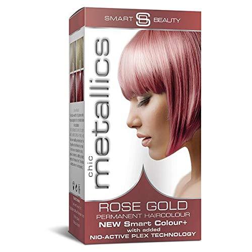 Smart Beauty Permanent Haarfärbemittel, Metallisch Pastell Farbe mit Pflegend Nio-Active Plex Haarbehandlung, 150 ML - Roségold, 150 Milliliter