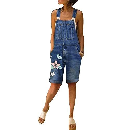 Manooby Pantalones Petos Vaqueros Cortos de Mujer Monos Tirantes de Mezclilla Overoles Jeans de Primavera Verano