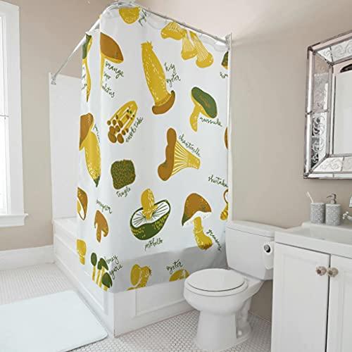 Sweet Luck Pilz Gemüse Duschvorhang Anti-Schimmel Wasserdicht Waschbar Stoff Vorhang Polyester Textil Badewannenvorhang mit Haken für Dusche White 120x180cm