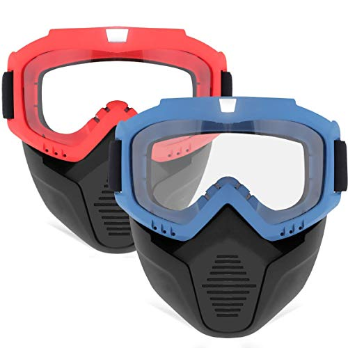 2 Pack Face Mask, Tactical Mask with Protective Goggles Compatible with Nerf Rival, Apollo, Zeus, Khaos, Atlas, Artemis Blasters Rival Mask Red & Blue