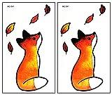 Mini Tattoos 2 Sheets Little Orange Fox Sitting Leaf Cartoon Tattoo Temporary Stickers Sheets Paper Tattoos Fake Body Art Make up Waterproof for Kids Adults Women Men (12)