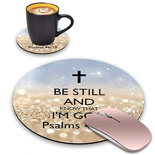 BWOOLL Round Mouse Pad and Coasters Set, Rainbow Glitter Christian Quote Psalm 46:10 - Be Still and Know That I am God Mouse Pad, Non-Slip Rubber Base Mouse Pads for Laptop and Computer