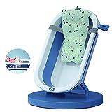 Banera de Bebe Plegable, Bañera Plegable de Bebe con Cojín Plegado Ultra Compacto Cojin Reductor Incluido Patas para Ducha Ninos Portatil Grande,Azul