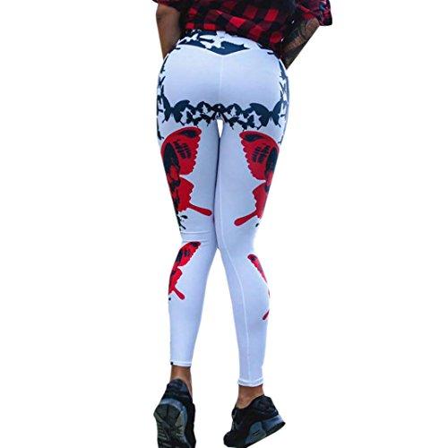 Vovotrade Yoga-legging voor dames, vlinder, print, sport, gym, yoga, workout, midden, tailleband, fitness, elastische leggings en elastisch, ademende broek