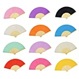 Aloddy 12 Pack Silk Folding Fan Bamboo Handheld Fans Silk Folded Fans, for Home Decoration, DIY Decoration and Wedding (12 Colors)