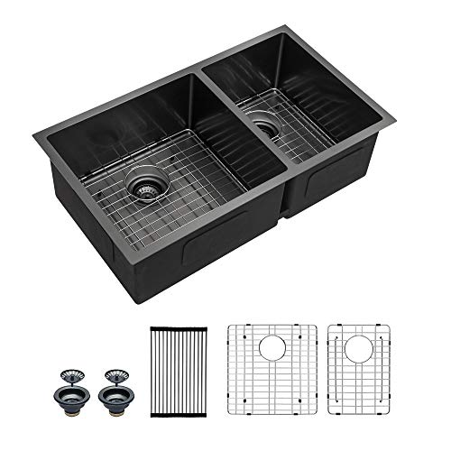 """Undermount 60/40 Double Bowls Kitchen Sink - Mocoloo 33""""x19"""" Gunmetal Black Nano Brushed Finish 16 Gauge Stainless Steel Sink with two 10"""" Deep Basin."""