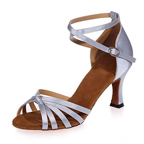Love Shoes Zapatos De Baile De Salón Latino para Mujer Zapatos De Baile De Salón Suela Blanda Hebilla De Metal Sandalias Zapatos De Tacón,Plata,36EU/5UK