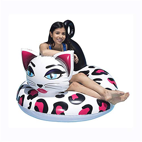 hello kitty floaties for adults Giant Inflatable Painted Cat Pool Float Pink Ride-On Swimming Ring Adults Children Water Holiday Party Toys Piscina-120x35CM