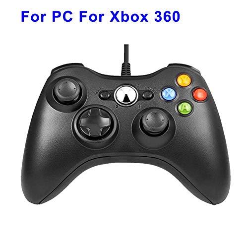 GHC USB Cables, La vibración Gamepad Controlador USB PC con conexión de Cable y for Windows 7/8/10, con Cable USB de Joypad for Xbox 360 (Color : Black for Xbox 360)