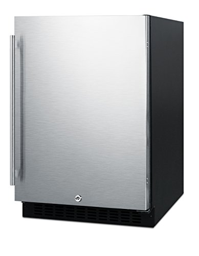 """Summit AL54 ADA Height 24"""" Built-In Undercounter Refrigerator with Glass Shelves and Door Storage, Stainless Steel/Black"""
