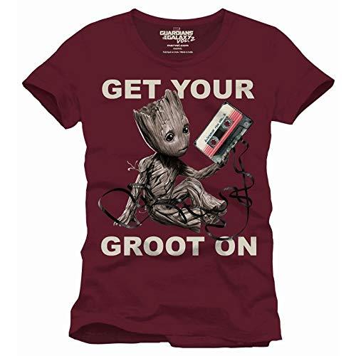 Guardianes de la Galaxia camiseta de caballero Groot burdeos de algodón - L