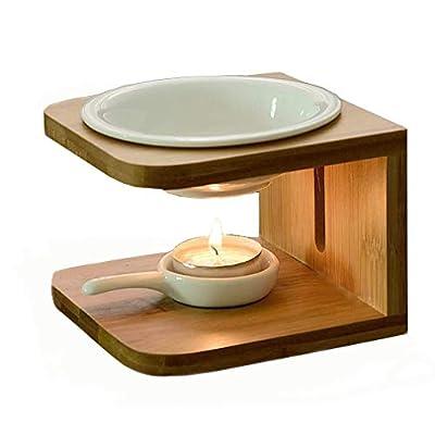 Singeek 100ML Ceramic Tea Light Holder,Essential Oil Burner Candle Aroma Diffuser for Spa Yoga Meditation (I-Shaped White, Wood)