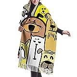Qefgjbw Bufanda de 27'x77 para mujer, ligera, de dibujos animados, garabatos, perros, gatos, chal sin costuras, abrigo, bufanda de moda para mujer, ligero y elegante L