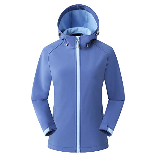 Amazon Marke: Eono Essentials Damen-Softshell-Jacke mit Kapuze, Übergangsjacke - Small, Blau
