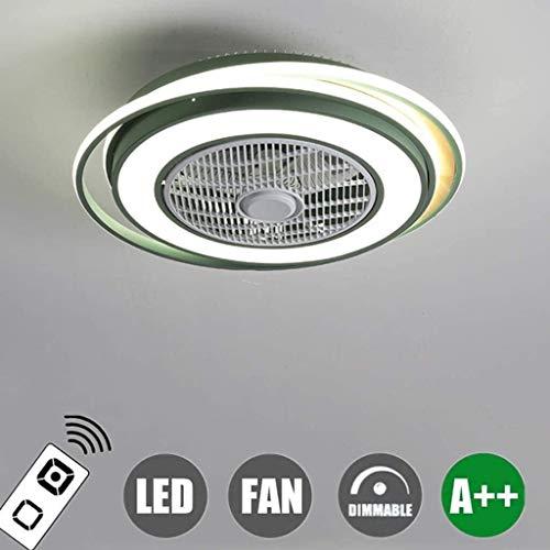 DLGGO Ventilador de techo regulable de iluminación con la lámpara de techo a distancia de control de LED Dormitorio Sala de luz ambiental creativo diámetro del ventilador silencioso de la lámpara de t