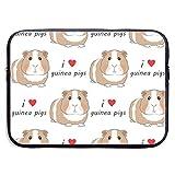 I Love Guinea Pigs - Brown 13/15 Inch Laptop Sleeve Bag for MacBook Air 11 13 15 Pro 13.3 15.4 Portable Zipper Laptop Bag Tablet Bag,Water Resistant,Black