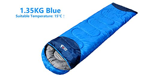 BSWOLF Lightweight Portable, Splashproof Sleeping Bag, Connect Two Bags into ONE! W/Free Eye Patch, Air Pillow, and Ear Plug. Great for Outdoor Activities (1.35)