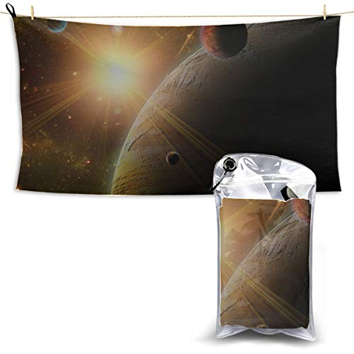 Outer Space Solar System Kids Beach Towels for Girls Womens Sports Towel Girls Beach Towel Microfiber Towels for Baby 27.5'' X 51''(70 X 130cm) Best for Gym Travel Camp Yoga Fitnes