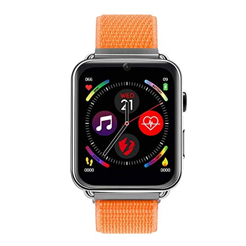 WY-CAR Smartwatch Fitness Tracker 4G 3 + 32G Android GPS Tracking Atleta Adulto Reloj móvil Reloj móvil Fitness Bluetooth Monitor de Ritmo cardíaco,Naranja