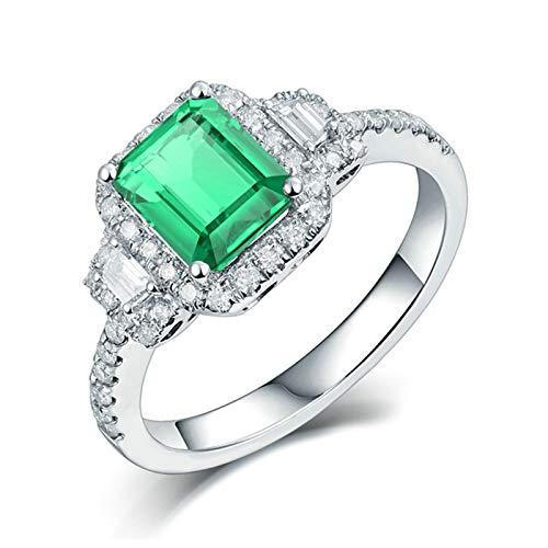 Bishilin Anillo Alianzas Oro Blanco 750, Diamantes de Esmeralda Rectangular de Lujo Anillos de Bandas Elegante Ajuste Cómodo Anillo de Compromiso de Boda para Cumpleaños Navidad Talla: 17