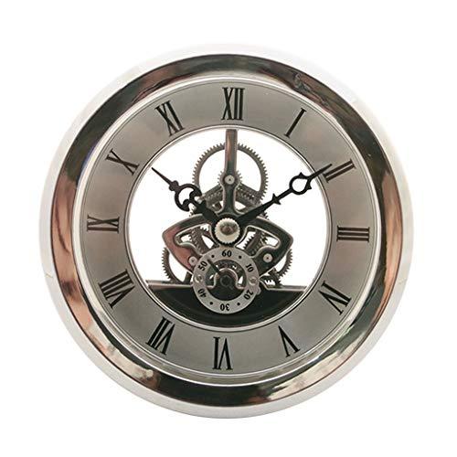 Fityle Quartz Clock Fit-up Insert with Roman Numeral Quartz Movement Silver Trim