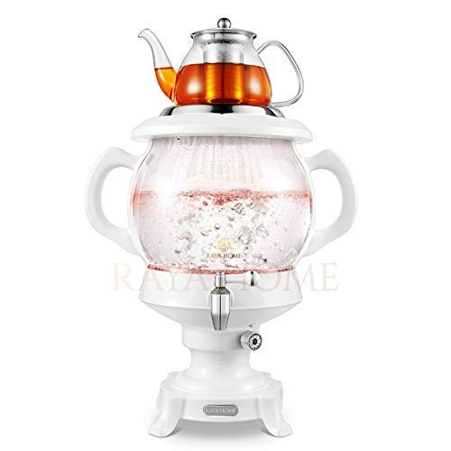 RAYA Electric Glass Samovar Tea Maker, White | 4.5 Liter/155 oz | Persian Samovar |Russian Samovar | Turkish Samovar