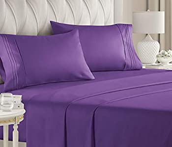 Queen Size Sheet Set - 4 Piece Set - Hotel Luxury Bed Sheets - Extra Soft - Deep Pockets - Easy Fit - Breathable & Cooling - Wrinkle Free - Comfy – Purple Plum Bed Sheets - Queens Sheets – 4 PC