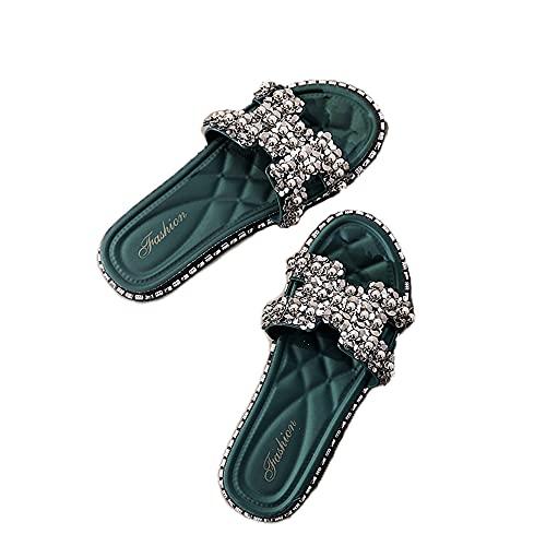 XJMPYGR Sandalias Planas para Mujer Zapatillas de Verano Sliders Open Toe Sliders Flip Flaops Cómodo,Verde,37EU