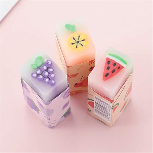 MISHITI 3pcs Fruite Soft Rubber Eraser Student Drawing Plasticine Pencil Eraser Art