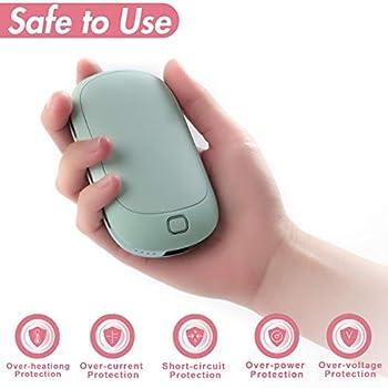 COMLIFE Chauffe-Mains USB Power Bank, Réchauffeur de Main Rechargeable, USB Réchauffeur de Poche à Double Face avec 4 Niveaux de Chauffage,Batterie Externe 5200mAh pour Smartphones, Tablettes -Bleu