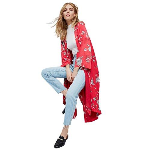 Sannysis Cardigan Blusa de Talla más, Rojo Flor, Gasa (XL)