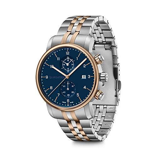 Wenger Urban Classic Chronograph Reloj de hombre con esfera azul y correa de acero inoxidable de dos tonos 01.1743.126