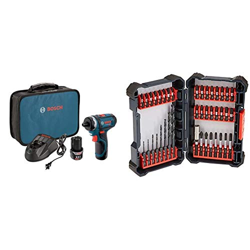 Bosch PS21-2A 12V Max 2-Speed Pocket Driver Kit with 2 Batteries, Charger and Case & 40 Piece Impact Tough Drill Driver Custom Case System Set DDMS40