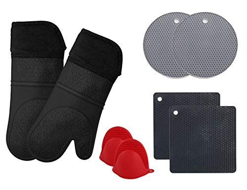 JEASTER Silicone Oven Mitts and Potholders (8-Piece Sets) Advanced Heat Resistant Oven Mitt Kitchen Counter Safe Mats Non-Slip Textured Grip Pot Holders