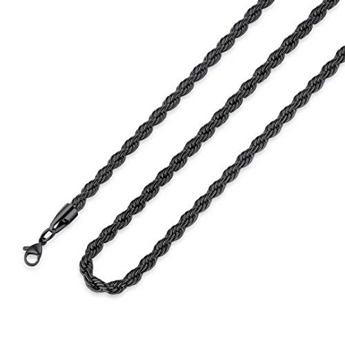 M MOOHAM Black Chain for Men, 4mm 24 Inch Stainless Steel Black Twist Rope Chain Necklace for Men