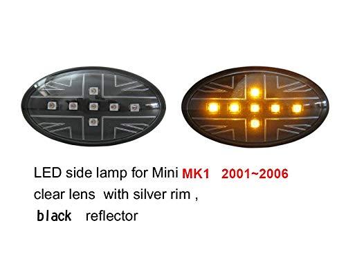 Union Jack Lens Side Marker Signal Lamp Amber LED Light for MINI COOPER MK1 R50 R52 R53 2001~2006